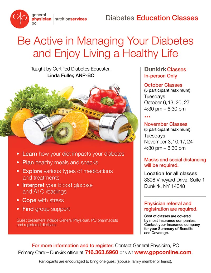 Diabetes classes DUNKIRK FLYER Fall 2020